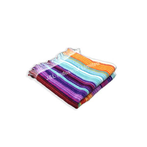 Striped Towel with Self Fabric Fringe